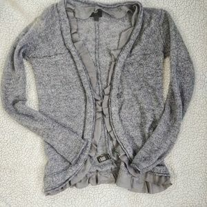 Grey XS banana republic sweater with ruffle
